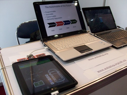 Picture of iPad and laptops setup for demo presentation
