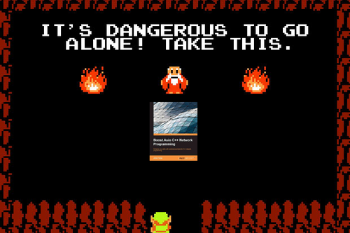 "Screenshot of original Legend of Zelda ""It's dangerous to go alone! Take this!"" screen but with the sword replaced with the ebook being reviewed"