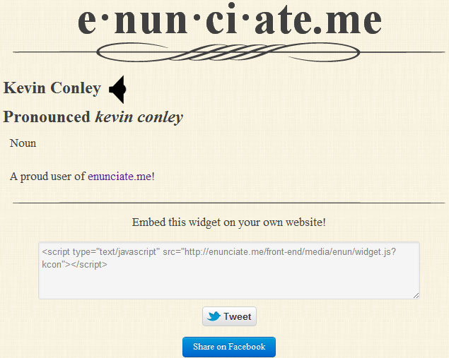 "Screenshot of enunciate.me website showing pronunciation page for ""Kevin Conley"""