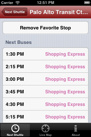 Screenshot of Stanford Marguerite iOS app showing next buses to arrive at Palto Alto Transit Center