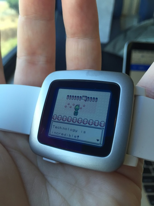 Picture of Pokemon Red gameplay on the Pebble Time