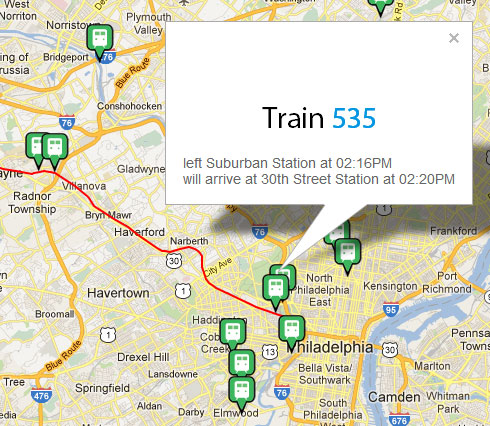 Screenshot of SEPTA Now web app showing locations of trains on a map