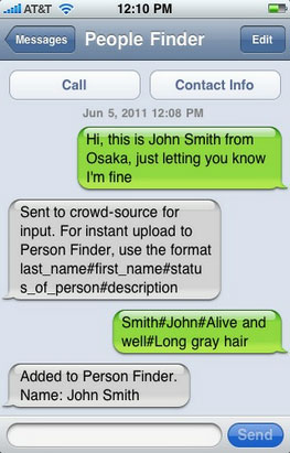 Screenshot of smspersonfinder text message conversation