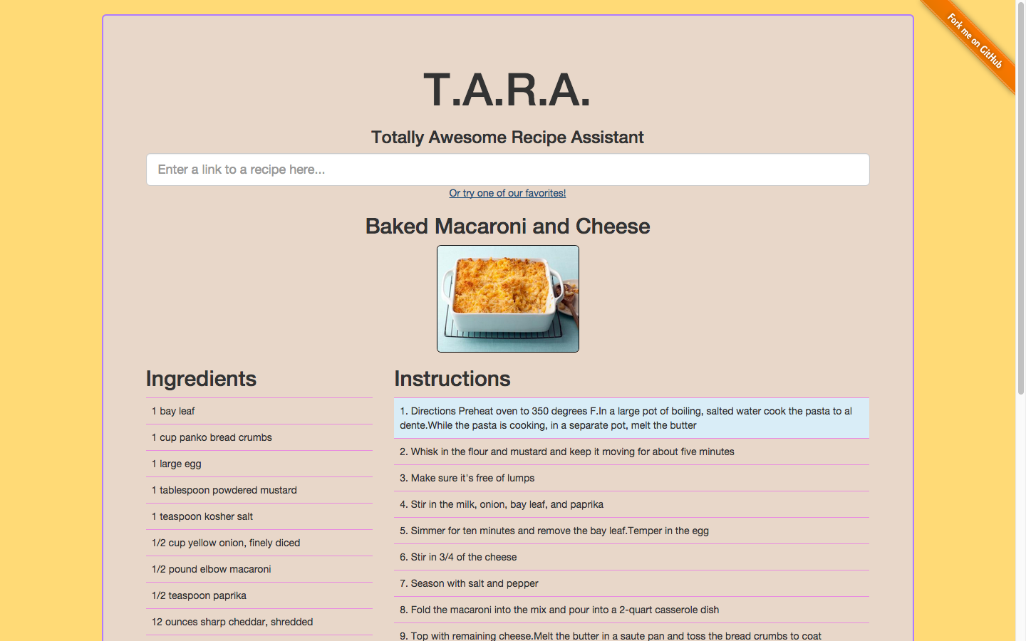 Screenshot of TARA website showing recipe view of baked macaroni and cheese