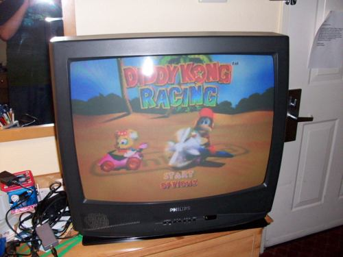 Picture of hotel TV displaying Diddy Kong Racing