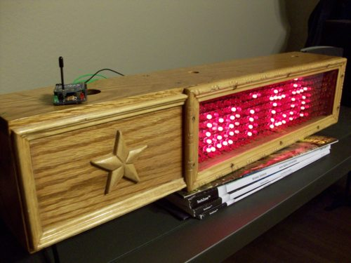 Picture of LED sign with Xbee radio on top